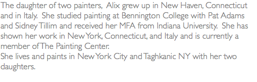The daughter of two painters, Alix grew up in New Haven, Connecticut and in Italy. She studied painting at Bennington College with Pat Adams and Sidney Tillim and received her MFA from Indiana University. She has shown her work in New York, Connecticut, and Italy and is currently a member of The Painting Center. She lives and paints in New York City and Taghkanic NY with her two daughters.
